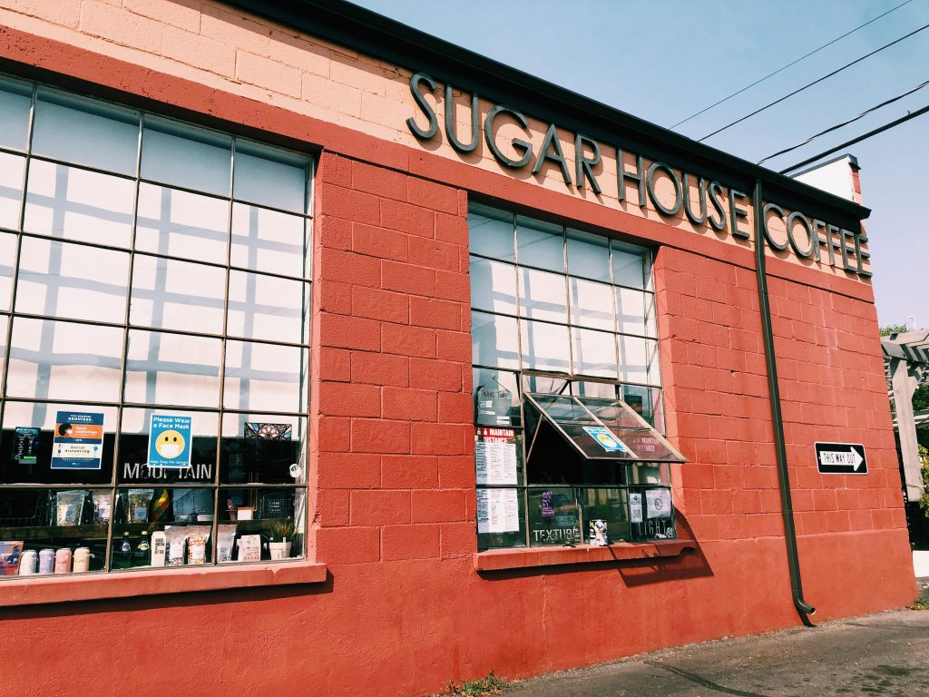 This is a photo of the side of Sugar House Coffee