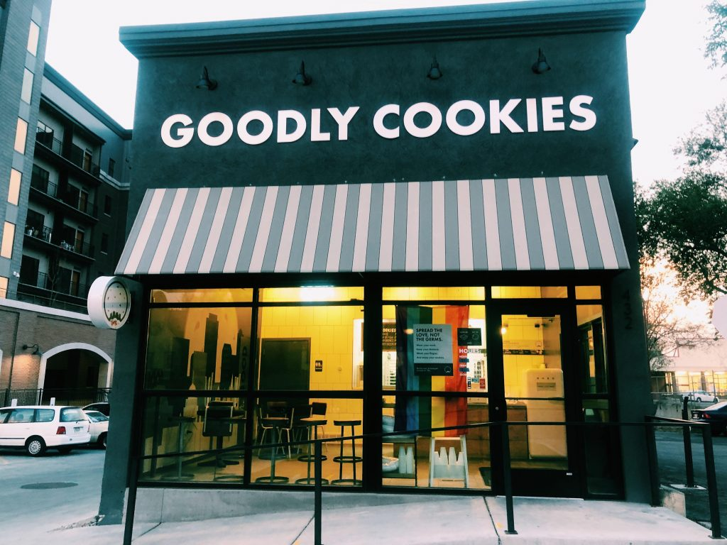 This is the front view of Goodly Cookies located on 900 E in Salt Lake City.