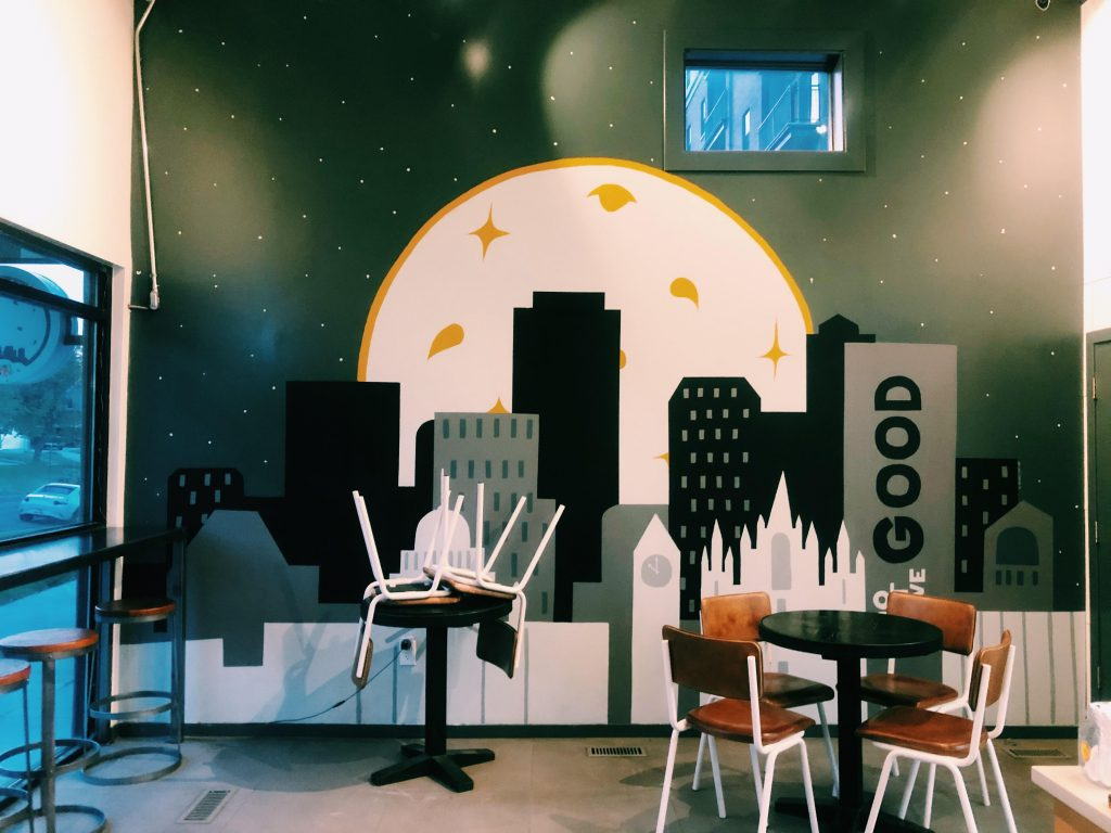 This is the inside mural at Goodly Cookies
