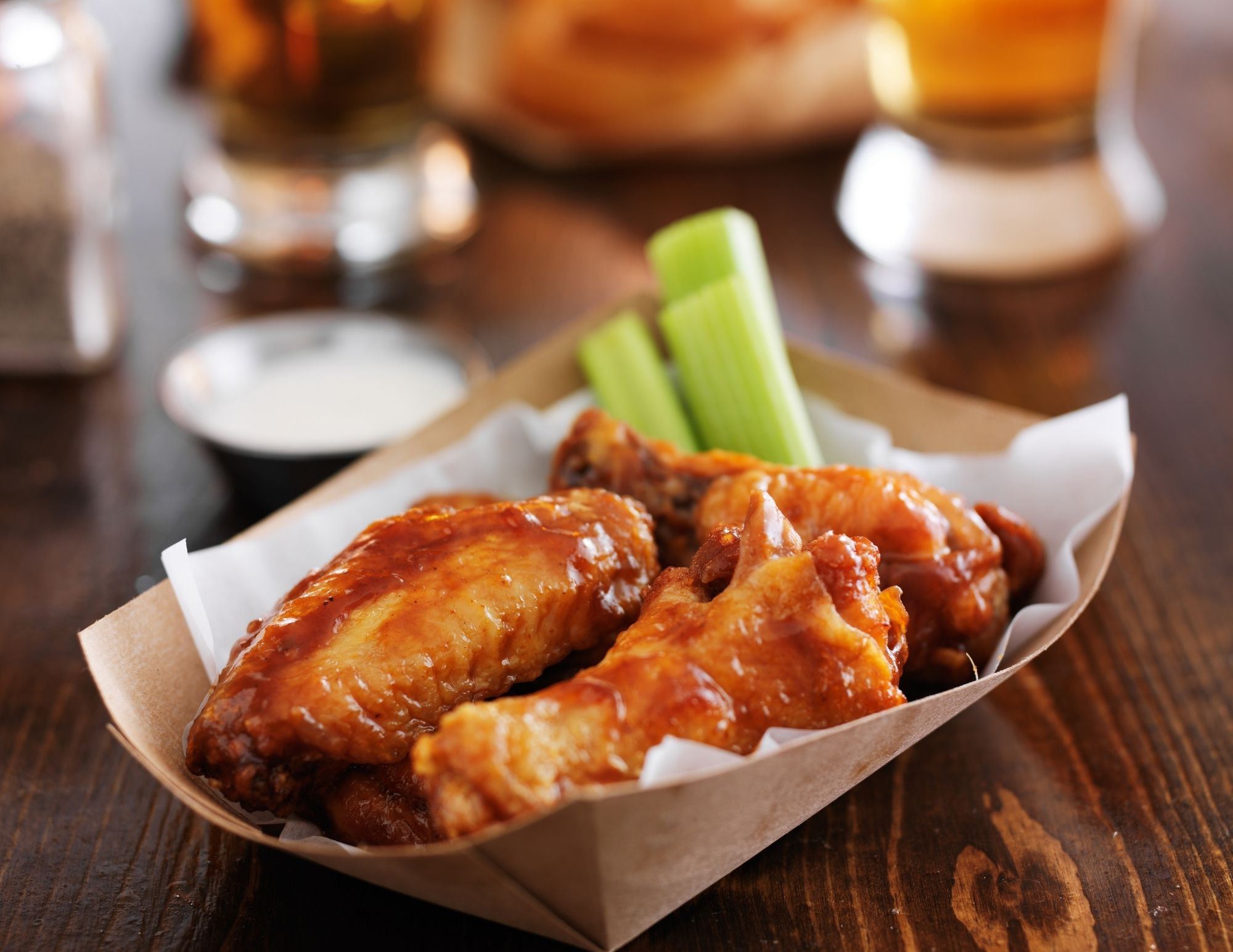 A plate of yummy wings and celery